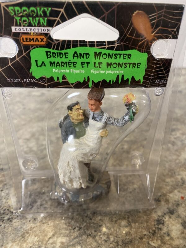 Rare retired LEMAX Spooky Town Halloween bride and monster Frankenstein 82464