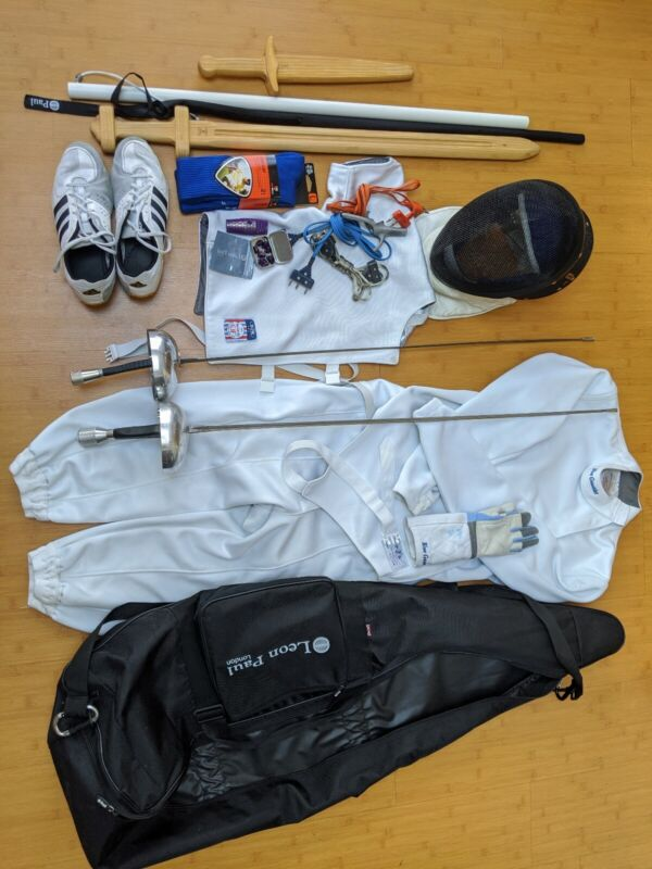 Epee Fencing Jacket, Plastron, Pants, Mask, Shoes, 2 Weapons, Bag, etc