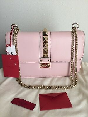 NWT Authentic Valentino Glam Lock  Flap Bag Medium Water Rose Pink