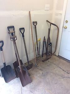 Shovels, Rock breaking axe, loppers small bow saws