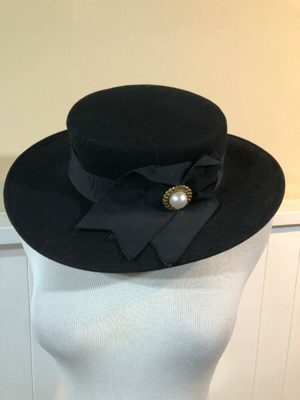 Vintage Geo. W Bollman Doeskin felt 100% Wool Black Hat Women