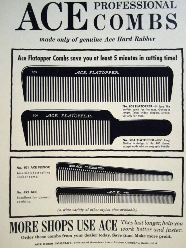 Vintage Barber 4 ACE PROFESSIONAL COMBS SIGN/AD ACE FLEXOR & FLATOPPER
