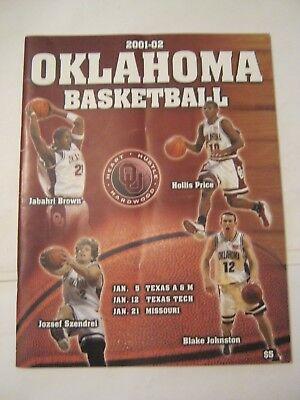 Jan 5 - Jan 12 - Jan. 21 Oklahoma Basketball 2001/2002 Program (CS-29)