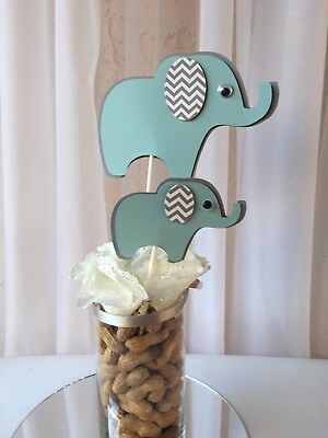 Elephant centerpieces stick/ elephant baby shower/ light blue and gray elephant