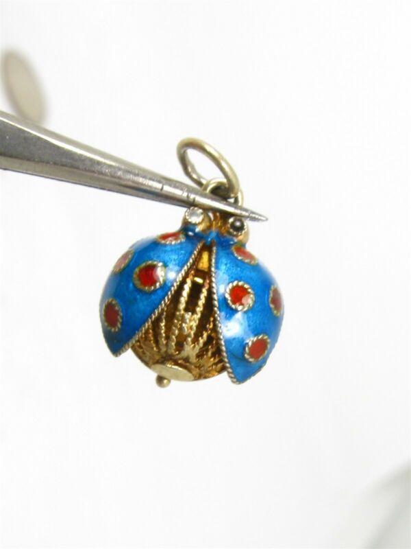 Antique Silver Cloisonne Enameled Filigree Ladybug Locket Charm 1.6g B20
