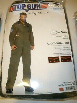 Leg Avenue Mens Top Gun Flight Suit Costume, PLUS 44- 47 NIP