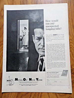 1958 Mony Mutual Of New York Life Insurance Company Ad Unexpected Hospital Bills
