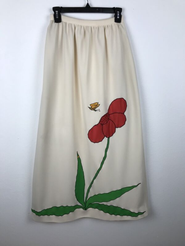 Vintage 1960s Skirt Maxi Size XS S Cream Red Green Flower Butterfly Floral Poly