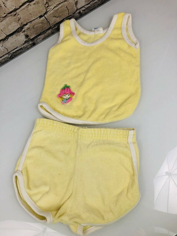Vintage 70s Toddler Girl Size 3 Terry Cloth Yellow Shorts Tank Top Rose Petal