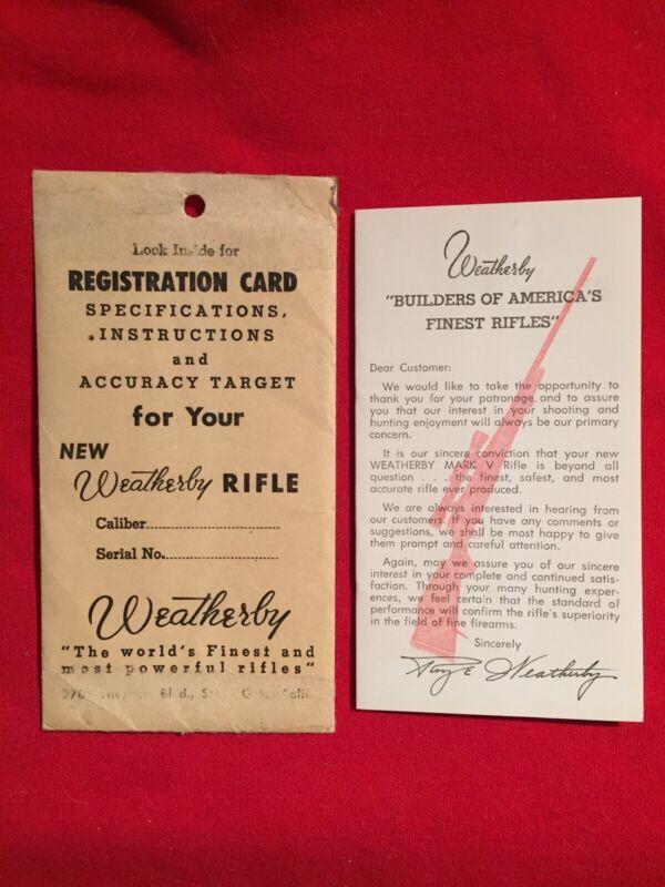 Weatherby Originial Registration Card
