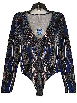 NWT Free People Pick A Place Bodysuit Blue Combo Lace Up Top Size L