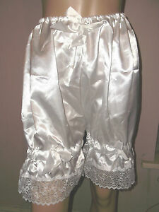 WHITE SATIN WHITE LACE BLOOMERS VICTORIAN LOOK  30-46W