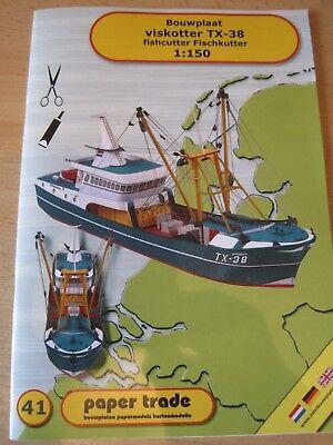 Fischkutter TX-38 Fischerboot 1:150  Kartonbausatz NEU Bastelbogen