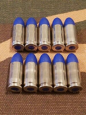 9MM LUGER SNAP CAPS  SET OF 10 (BLUE+NICKEL)