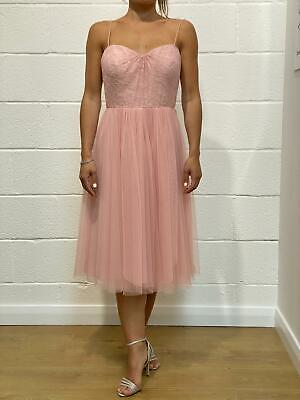 NEW Jenny Yoo Cocktail Bridesmaids Dress with Lace Detail - Rose Pink Size UK10