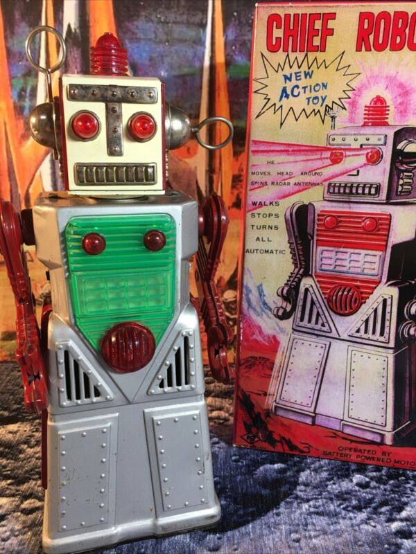 Rare 1962 Tin Robot KO Yoshiya Japan Chief Robotman ( Grey Skirt)-WORKS! w/ Box