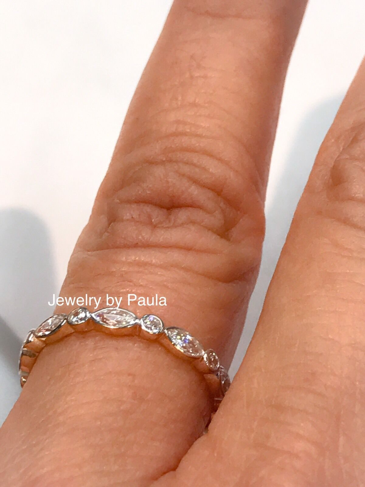 14k Solid Yellow Gold Diamond Eternity Band Stackable Ring E