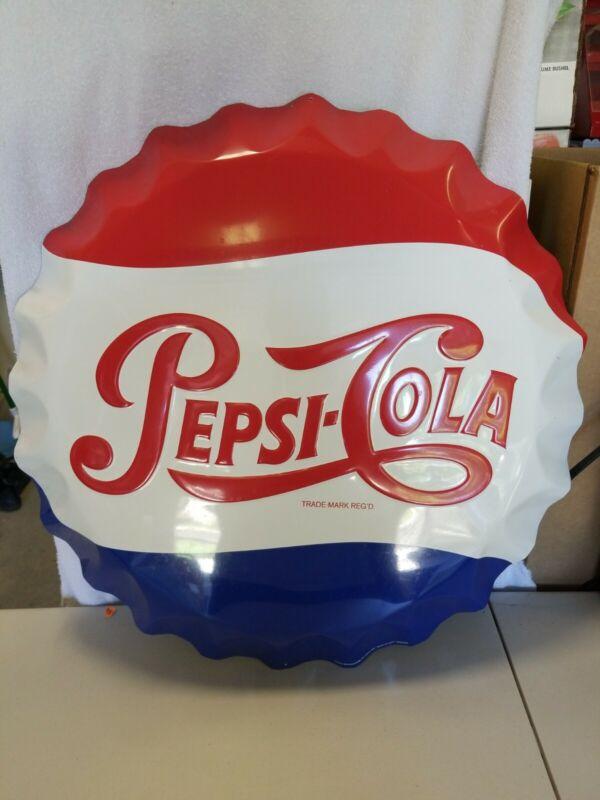 27 Inch Metal Pepsi Cola Bottle Cap Stout Sign