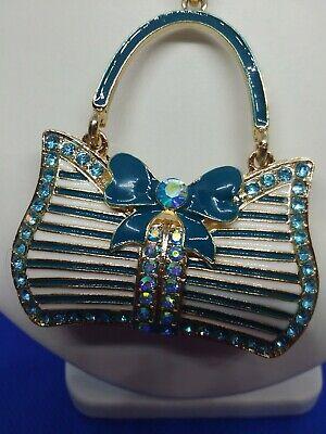 BETSEY JOHNSON BLUE&WHITE ENAMEL DESIGNER BAG PENDANT SWEATER  NECKLACE GIFT BOX Blue Enamel Purse Pendant