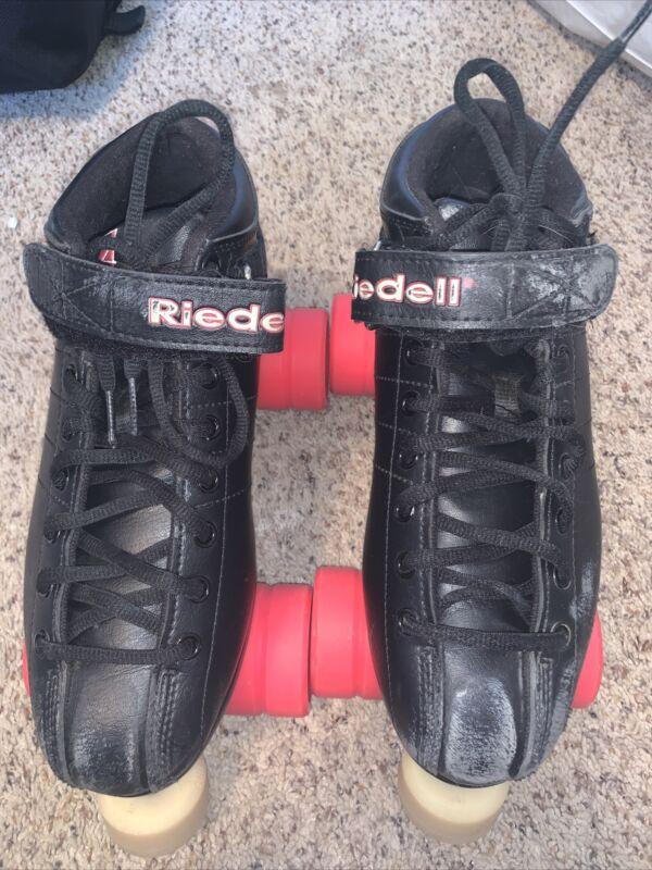 Riedell Black R3 Sz 8 Roller Derby Skates with Pink Cayman Radar Wheels