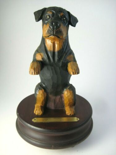 Carved Wood Rottweiler Dog Music Box Michael Park Woodcarver 1994