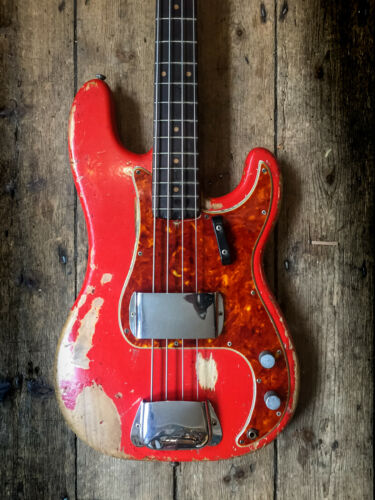 1961 FENDER PRECISION BASS IN FIESTA RED FINISH WITH ORIGINAL HARDSHELL CASE