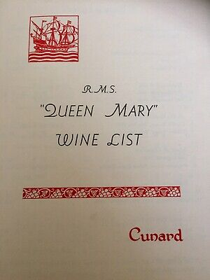 RMS Queen Mary Wine List 1958