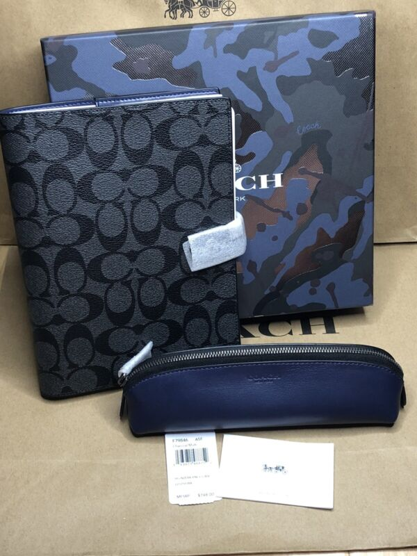 Coach Boxed Notebook Charcoal  Signature Canvas & Leather Pencil Case Gift Set