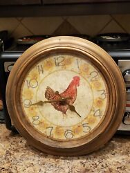 Farmhouse Country Decor Battery Operated Rooster & Sunflowers Wall Clock