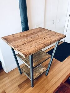 BAR HEIGHT KITCHEN ISLAND DINING TABLE BURNT WOOD & RAW STEEL