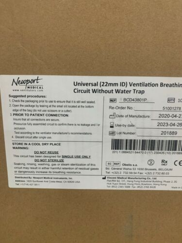 Newport HT70 Ventilator Circuit Adult without Water Trap (22mm), Case of 10