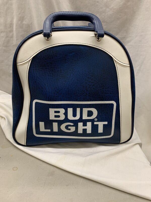 Vintage Bowling Ball Bag Bud Light Beer Advertising Blue White