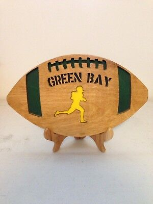 Green Bay Packer Wooden Plywood Football Plaque Custom Made Craft Decor w/ Stand Stand Wooden Football