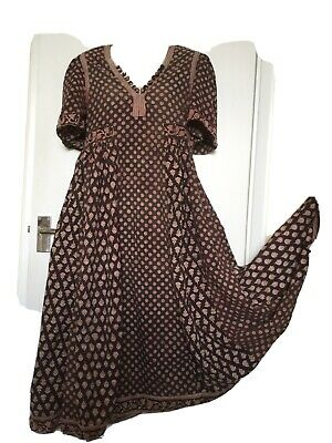Anokhi Print No Label Vintage Indian Cotton Dress Boho Rare M