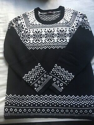 Christmas Snowflake Jumper Sweater Sweatshirt Pullover Black and White Pattern