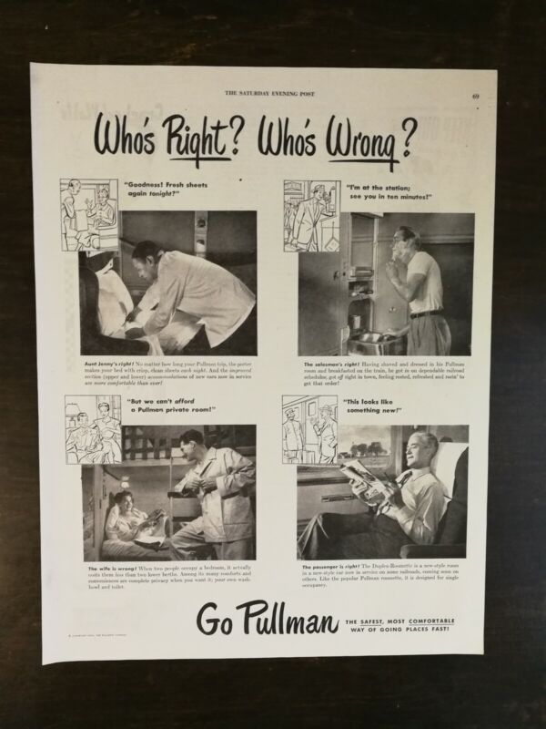Vintage 1947 Pullman Train Full Page Original AD A2