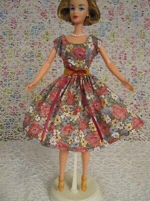 BARBIE Floral Dress with Yellowish/Orange High Heels ~ BONUS HAIR BOW!!
