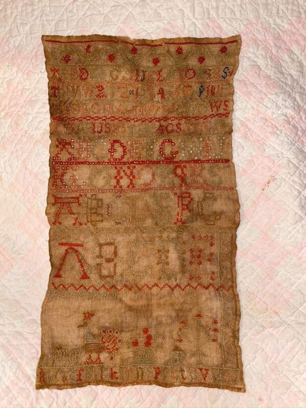 Antique Early American Homespun ABC Textile Sampler