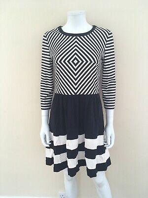 New Womens Ivy + Blu Navy Stripe Nautical Skater Dress Cotton Jersey UK 12