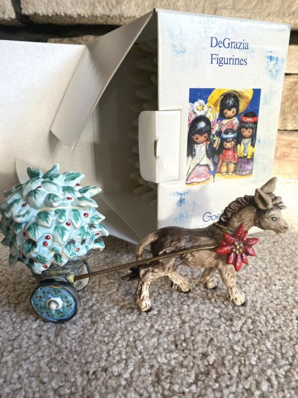 1992 DeGrazia Goebel Feliz Navidad Burro Donkey Cart Limited Edition Figurine