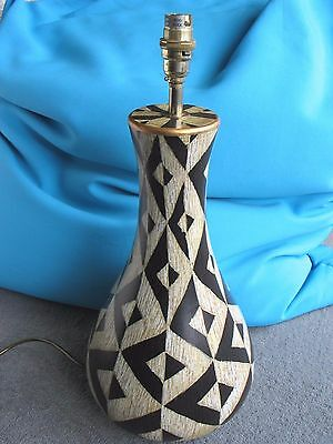 Large geometric design pottery lamp base