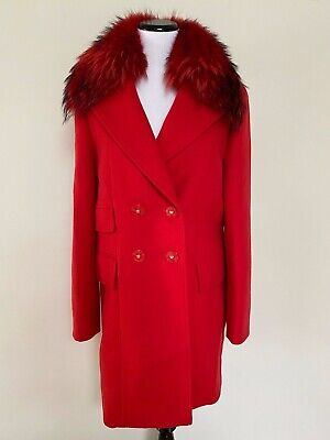 NWT VERSACE Red Medusa Logo Button Removable Fur Collar Wool Coat 44 US 8 $4275