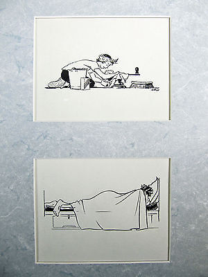 Lois Darling 2 original pen and ink drawings for Yachting Magazine January 1952