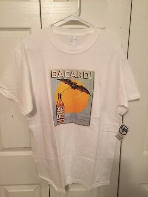 NWT - BACARDI BLACK AND WHITE TEE SHIRT - BAT LOGO - SIZE LARGE