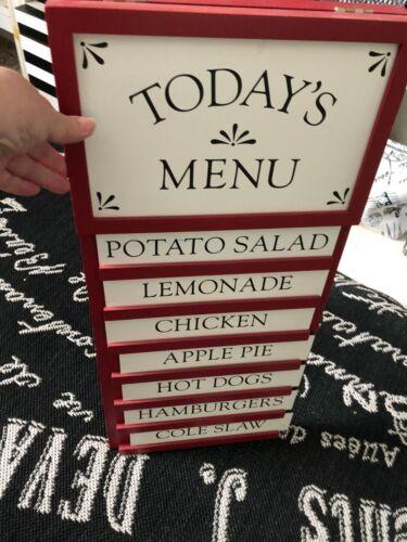 Vtg POTTERY BARN Red TODAYS MENU Sidewalk Sandwich BOARD Hang Stand Blackboard