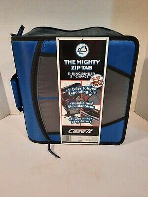 Case It Case-it Mighty Zip Tab 3 3-ring Zipper Binder Blue Strape Handle Blue