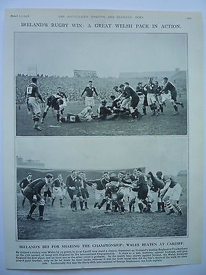 """"""" IRELAND'S RUGBY WIN: A GREAT WELSH PACK IN ACTION """" 1928. RARE."""