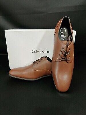 CALVIN KLEIN MEN'S LUCCA NAPA OXFORD, TAN DRESS SHOE CALF LEATHER-CHOOSE SIZE