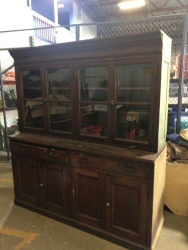 "vintage OAK upright hutch cabinet old varnish 76"" x 69"" x 23"" school house unit"
