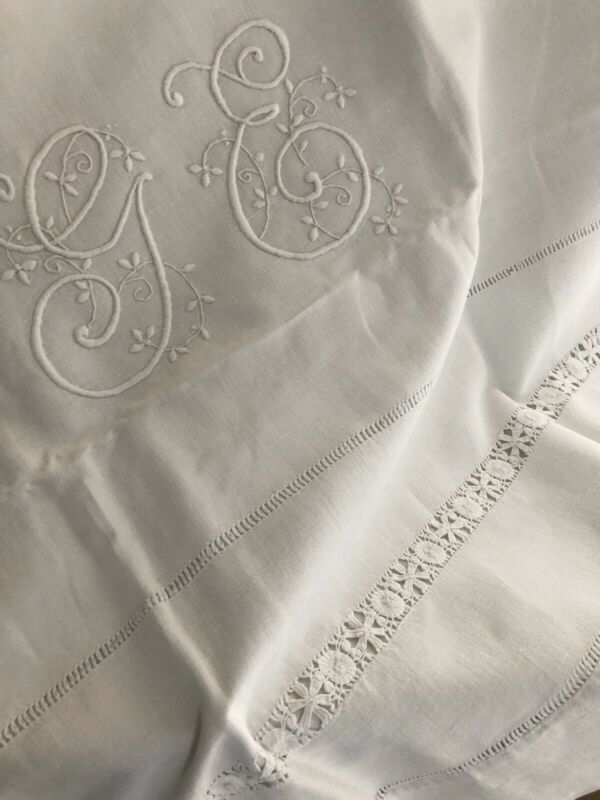Antique LONG French PURE LINEN TROUSSEAU sheet OPENWORKS GE mono c1900